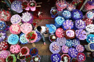 China Valentine's day: Flowers are displayed for sale at a flower shop in Xi an, China. The Chines