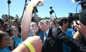 The Prime Minister Kevin Rudd is mobbed by students as he tours St Mary's College.