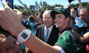 The Prime Minister Kevin Rudd mobbed by students.