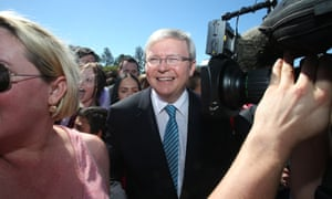 The Prime Minister Kevin Rudd is mobbed by students as he tours St Mary's College, Trade Training Centre in Cairns Far North Queensland Wednesday 14th, August 2013.