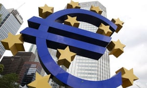 The Euro logo is seen in front of the European Central Bank