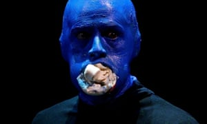 Bluetooth: A member of Blue Man Group performs with marshmallows at the Lyric Theatre, in Sydney.