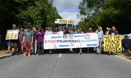 Anti-fracking protest at the Cuadrilla site in Balcombe in Sussex