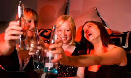 Girls drinking in a nightclub