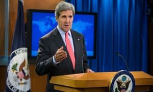 John Kerry as he gives a speech on Cairo