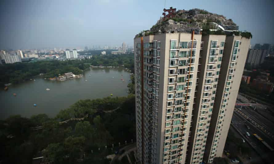 Rocky heights … the aerial lair of the millionaire Chinese doctor in Beijing.