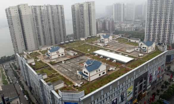 Villas built on the roof of a shopping mall in Zhuzhou act as offices for the companies employees.