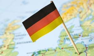 German flag on a topographic map
