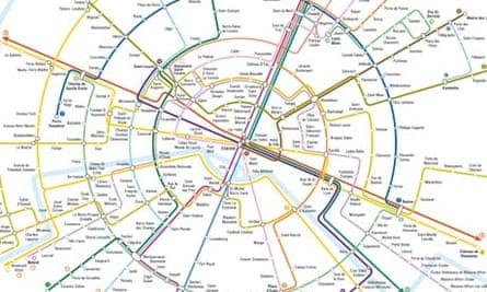 Paris Metro map. Design by Dr Max Roberts