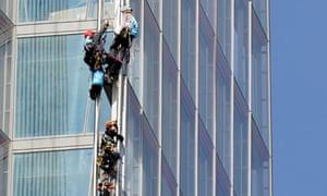 Greenapeace activists climb The Shard