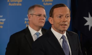 Tony Abbott and Scott Morrison during their press conference.