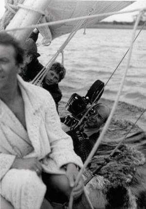 Roman Polanski with Jerzy Lipman filming Knife in the Water