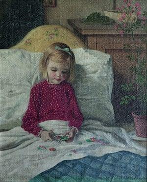 Rex Whistler: Rosanagh Crichton convalescing in bed, 1938 by Rex Whistler
