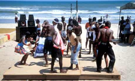 Dancers at a beach party in Accra, Ghana