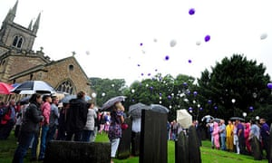 Mourners at Hannah Smith's funeral release balloons after the service in Lutterworth