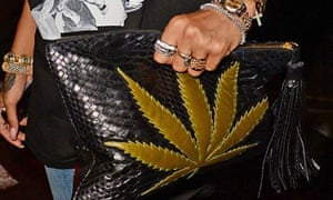 Rihanna with marijuana-print handbag West Village, New York, America - 12 Aug 2013
