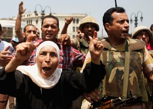 Egypt: Supporters of the interim government installed by the army cheer soldiers