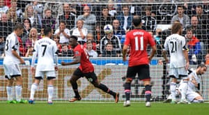 Swansea v United: Danny Welbeck scores the 2nd goal