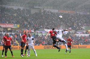 Swansea v United: The rain teems down