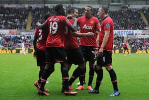 Swansea v United: Robin van Persie is congratulated after scoring the 3rd goal