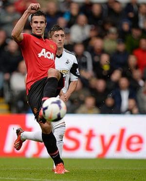 Swansea v United: Robin Van Persie passes during the 2nd half