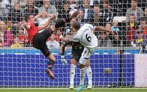 Swansea v United: Robin Van Persie scores the opening goal