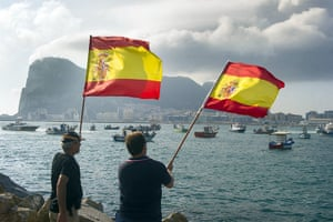 Gibraltar protests: Spanish fishermen wave Spanish flags during a protest in the bay of Algecir