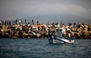 Gibraltar protests: Men wave Spanish national flags during a protest by Spanish fishermen at th