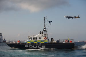 Gibraltar protests: A Gibraltar police boat sails during a protest by Spanish fishermen