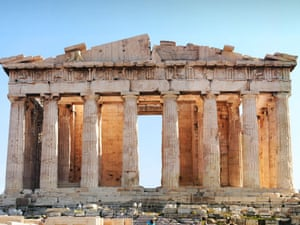 The ancient Parthenon temple, focal point of the Acropolis in Athens Greece.