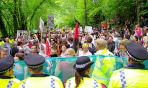 Anti-fracking march makes its way from Balcombe village to the entrance of the Cuadrilla drill site.
