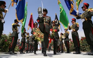 Afghan soldiers lay a floral wreath to pay tribute to former King Ghazi Amanullah Khan during a ceremony to mark Independence Day at the Minaret of Liberty in Kabul. Afghanistan is celebrating the 94th anniversary of its independence from British rule.