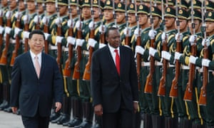 Uhuru Kenyatta and his Chinese counterpart Xi Jinping review an honour guard during a welcoming ceremony for the Kenyan President at the Great Hall of the People in Beijing.