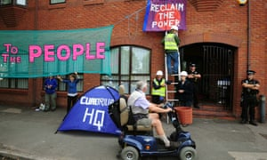Anti-fracking protesters occupy the headquarters of Lichfield-based energy company Cuadrilla.
