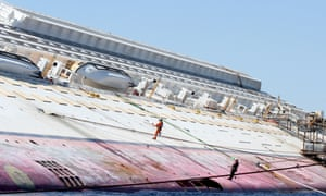 Work continues at the wrecked Costa Concordia, off the island of Giglio in Italy.