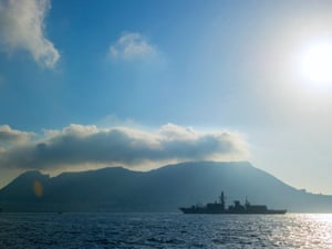 British frigate HMS Westminster arrives in Gibraltar for a naval exercise coinciding with a furious diplomatic row with Spain over sovereignty and fishing rights in the surrounding waters.