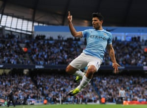 Manchester City's Sergio Aguero celebrates during the English Premier League soccer match between Manchester City and Newcastle United at the Etihad Stadium in Manchester, Britain. Photograph: Peter Powell/EPA
