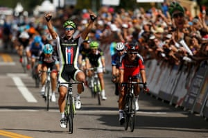 Peter Sagan of Slovakia crosses the finish line to win stage one of the USA Pro Cycling Challenge in Aspen, Colorado. Photograph: Chris Graythen/Getty Images
