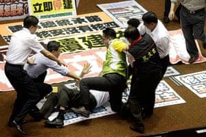 Taipei parliament fight: Legislator Chiu Chih-Wei