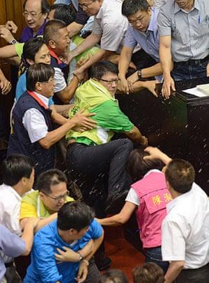 Taipei parliament fight: Pan Mon-an, a legislator from Taiwan