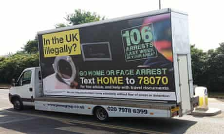 A 'Go home' van poster campaign as part of a government crackdown on illegal immigrants