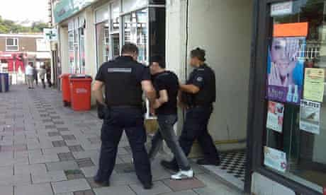 An immigration raid at a Swansea nail bar, tweeted by the Home Office account