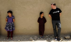 Andrew O'Hagan meets young Afghan girls during a visit to Kabul