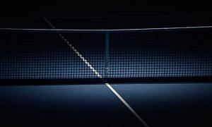 ATP World Tour Finals tennis. Spotlight on a tennis net.