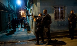 Police pacification forces on patrol in Rio de Janeiro