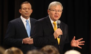 Tony Abbott and Kevin Rudd at the second leaders' debate on 21 August 2013.