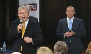 """The Prime Minister Kevin Rudd & The Leader of the Opposition Tony Abbott at a """"peoples forum"""" debate at the Broncos Leagues Club in Red Hill, Brisbane this evening, Wednesday 21st August"""