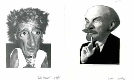 Two examples of Peter Clarke Guardian cartoons depicting Rod Stewart and Lenin