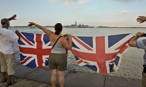 Gibraltarians welcome HMS Westminster into the harbour.