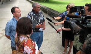 Hawaiian officials being interviewed in the wake of the fatal shark attack